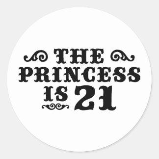 21st Birthday Round Sticker