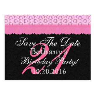 21st Birthday Save the Date Pink and Black Lace Postcard