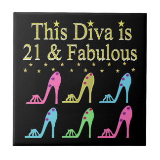 21ST BIRTHDAY SHOE QUEEN DESIGN SMALL SQUARE TILE