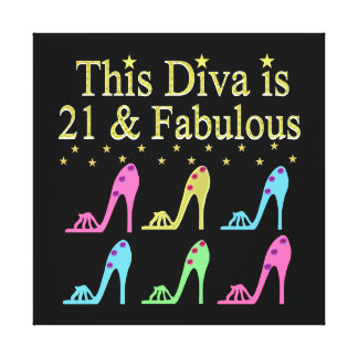 21ST BIRTHDAY SHOE QUEEN DESIGN STRETCHED CANVAS PRINT
