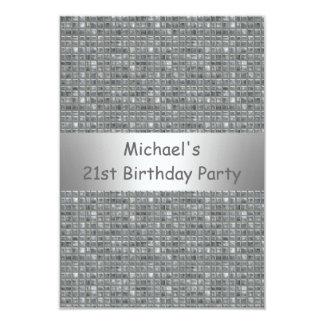 21st Birthday Silver Grey Marle Tile Pattern 9 Cm X 13 Cm Invitation Card