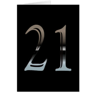 21st Birthday Silver Number 21 Greeting Card