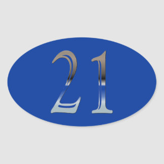 21st Birthday Silver Number 21 Oval Sticker