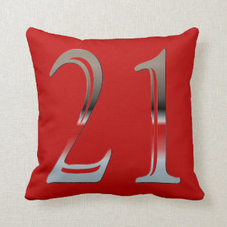 21st Birthday Silver | Number 21 Red and Black Cushion