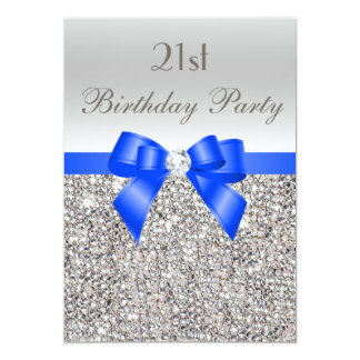 21st Birthday Silver Sequin Royal Blue Bow Diamond 13 Cm X 18 Cm Invitation Card