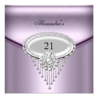 21st Birthday Silver White Lilac Jewel Image Card