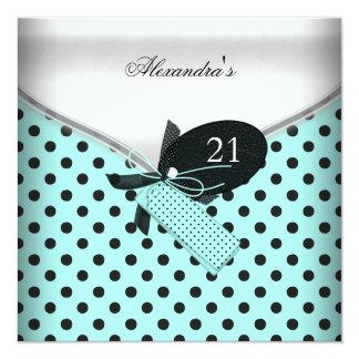 21st Birthday Teal Black White Polka Dot Bow Image Card