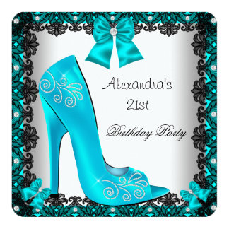 21st Birthday Teal High Heel Shoe Black Lace 5.25x5.25 Square Paper Invitation Card