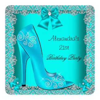 21st Birthday Teal High Heel Shoe Silver Lace 2 13 Cm X 13 Cm Square Invitation Card