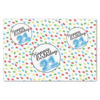 21st Birthday Tissue Paper Festive Colorful