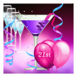 21st Birthday White Pink Purple Martini Balloons Personalized Announcements