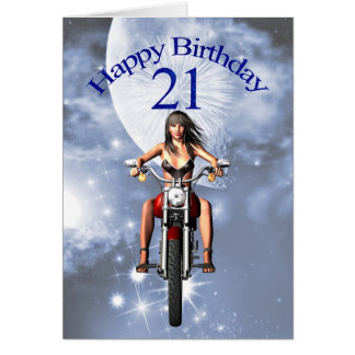 21st birthday with a biker girl greeting card