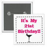 21st Birthday with Martini Glass 15 Cm Square Badge