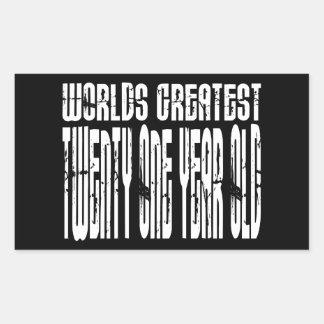 21st Birthday  Worlds Greatest Twenty One Year Old Rectangle Stickers