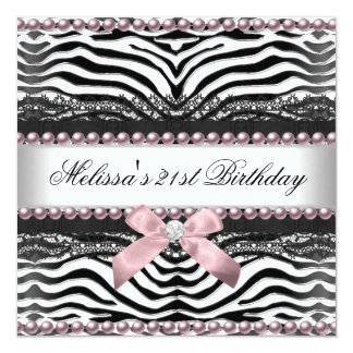 21st Birthday Zebra Pink White Black Lace 13 Cm X 13 Cm Square Invitation Card