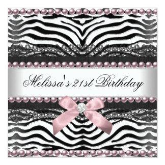 21st Birthday Zebra Pink White Black Lace 13 Cm X 13 Cm Square Invitation Card