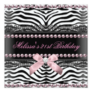 21st Birthday Zebra Pink White Black Lace Pearl 13 Cm X 13 Cm Square Invitation Card