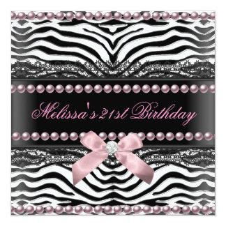 21st Birthday Zebra Pink White Black Lace Pearl 13 Cm X 13 Cm Square Invitation Card