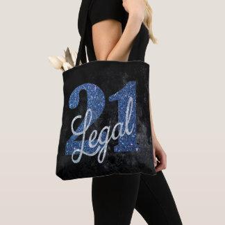 21st Blue | 21 Legal Royal Cobalt Glitter Black Tote Bag