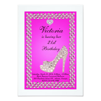 21st Crystal Shoe Birthday Party Invitation
