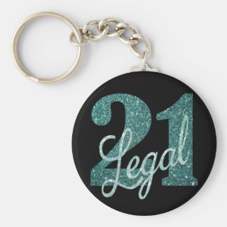 21st Green | 21 & Legal Black Teal Seafoam Glitter Key Ring