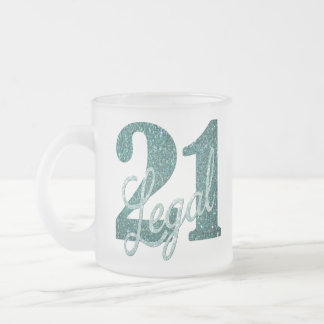 21st Green | 21 & Legal Teal Seafoam Glitter Party Frosted Glass Coffee Mug