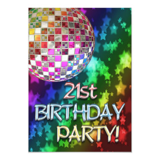 21st invitation with disco ball and rainbow stars