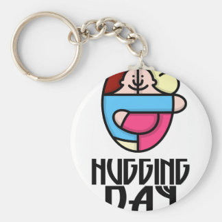 21st  January - Hugging Day - Appreciation Day Basic Round Button Key Ring