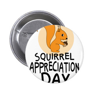 21st January - Squirrel Appreciation Day 6 Cm Round Badge