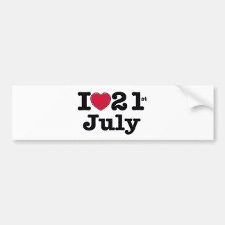 21st july my day of birthday bumper sticker