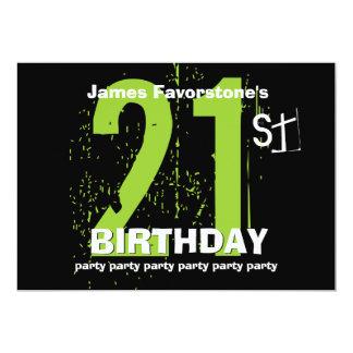 21st Modern Birthday Party Green and Black W1797 13 Cm X 18 Cm Invitation Card