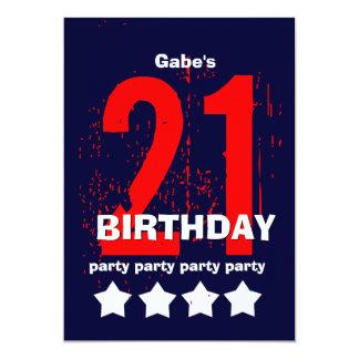 21st Modern Birthday Party Red White Blue W1797D 13 Cm X 18 Cm Invitation Card