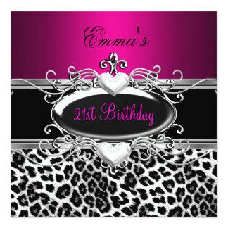21st Party Silver Pink Black White Leopard 13 Cm X 13 Cm Square Invitation Card
