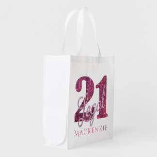 21st Pink   Custom 21 Legal Glitter with Name Reusable Grocery Bag