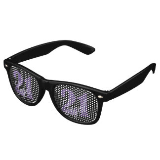 21st Purple | 21 Legal Glitter Black Party Theme Retro Sunglasses
