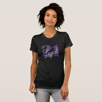 21st Purple | 21 Legal Glitter Black Party Theme T-Shirt