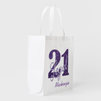 21st Purple   Custom 21 Legal Glitter with Name Reusable Grocery Bag