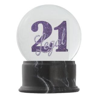 21st Purple | Custom 21 Legal Glitter with Name Snow Globe