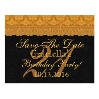 21st Save the Date Birthday Gold Black Lace Postcard