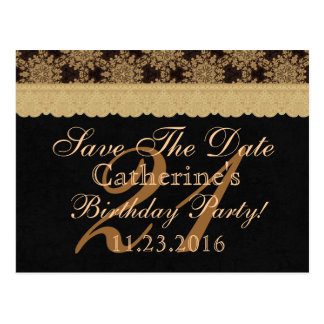 21st Save the Date Birthday Pale Gold Lace Black 2 Postcard