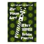 21st SURPRISE Birthday Party Zip Your Lip Stars Invite