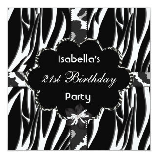 21st Teen Birthday Party Black White Wild  Zebra Card