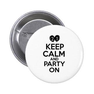 21st year birthday designs 6 cm round badge