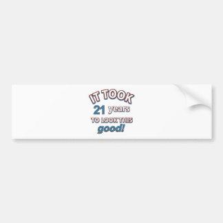 21st year birthday designs car bumper sticker