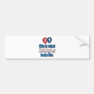 21st year birthday designs bumper sticker