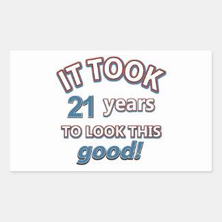 21st year birthday designs rectangular sticker