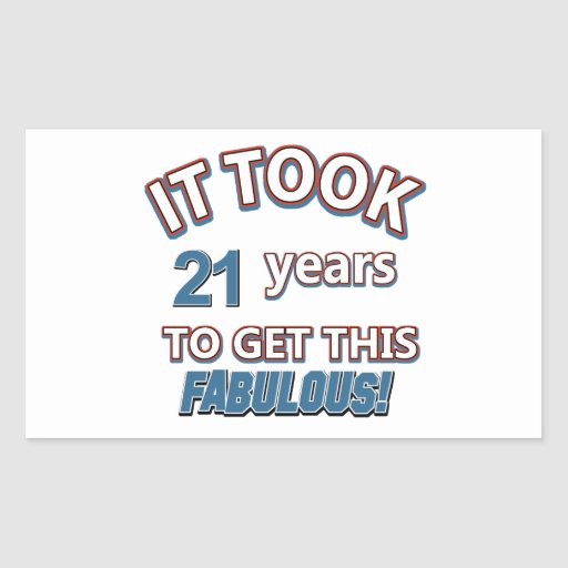 21st year birthday designs rectangle stickers