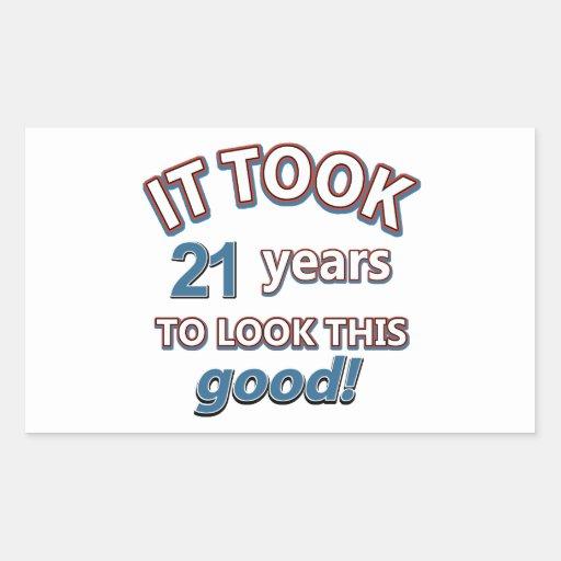 21st year birthday designs rectangular stickers