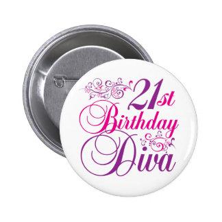21th Birthday Diva 6 Cm Round Badge