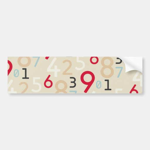 225colored 225 RANDOM NUMBERS FRACTIONS MATH ARITH Bumper Sticker